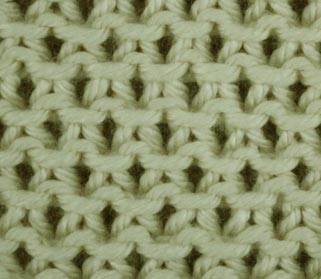 Eyelet Moss Stitch - Wrong Side Stitch Sample